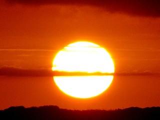 Foto auf AluDibond Rot kubanischen Silhouette Landscape Against Orange Sky