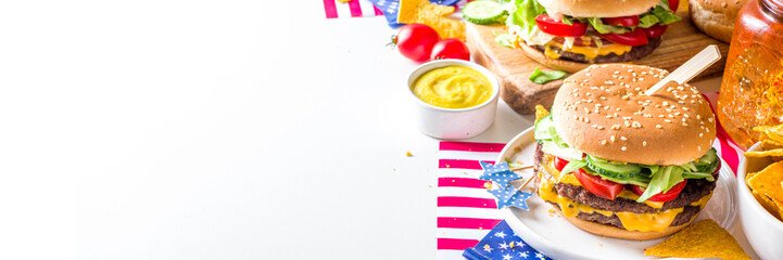 Celebrating Independence Day, July 4. Traditional American Memorial Day Patriotic Picnic with...