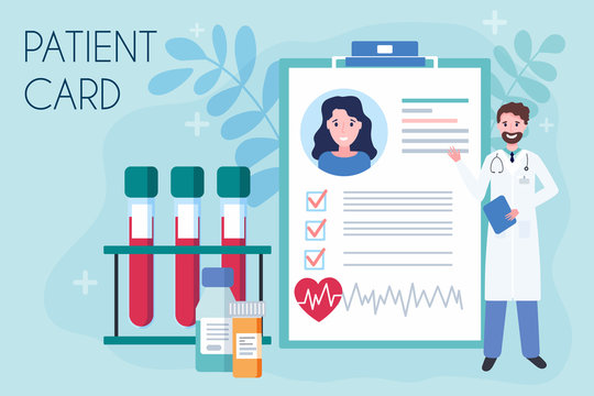 Tiny doctor show medical patient card. Concept of online prescription medication. Health record paper or medical research report. Flat vector illustration of healthcare service