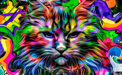 Cat head colorful illustration