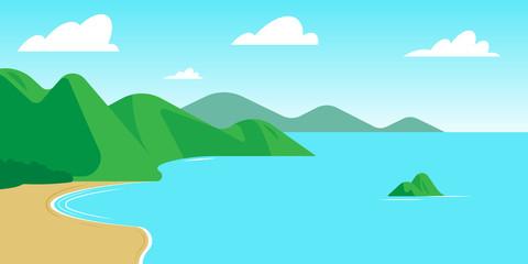 Foto auf AluDibond Turkis Blue Lagoon. Cartoon landscape: mountains, sea, beach, waves, clouds.