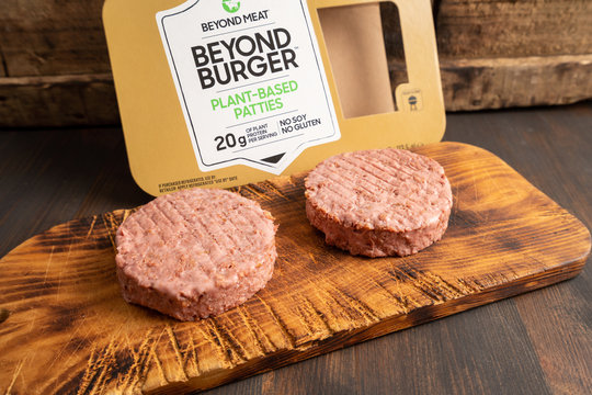 Oslo, Norway - 05.16.2020: Beyond meat, beyond burger, plant based patties burgers made with no soy and gluten. Burger and vegan concept.