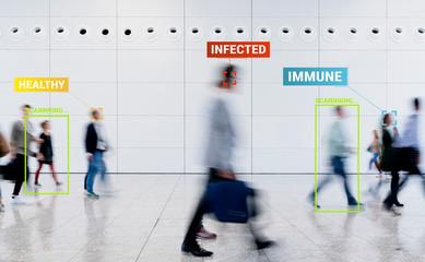 Photo sur cadre textile Montagne Coronavirus Tracking App zur Überwachung von Kontaktpersonen