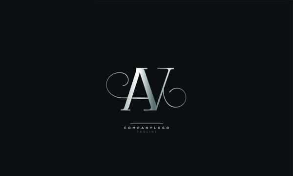 AV VA A V Letter Logo Alphabet Design Icon Vector Symbol