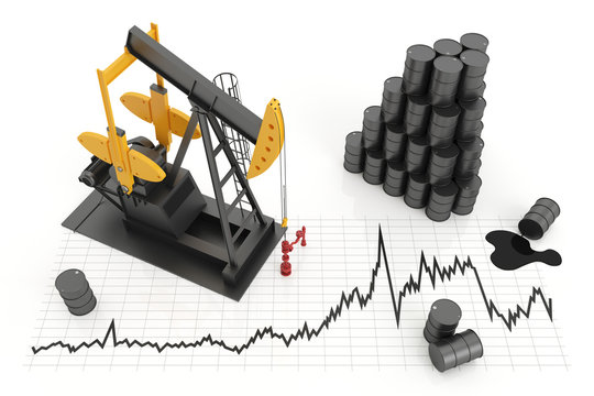 Oil pump jack and oil barrels with chart. The concept of oil production and extraction, isolated white background. 3d illustration