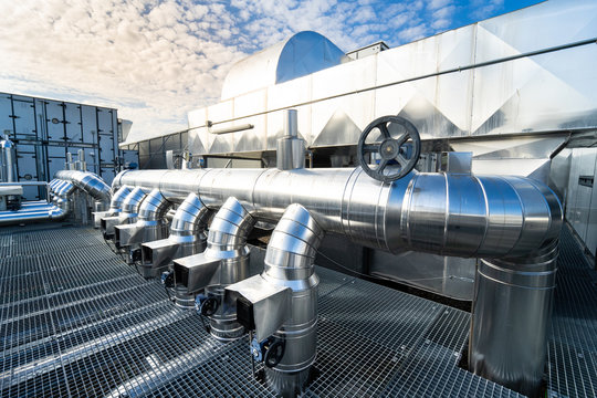 Industrial Zone. Industrial ventilation pipes and valves. (Air conditioning system)