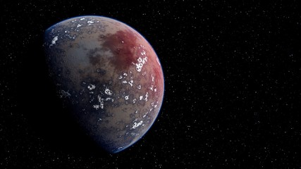 super-earth planet, realistic exoplanet, planet suitable for colonization, earth-like planet in far space, planets background 3d render Fotomurales