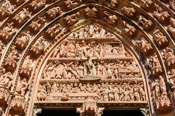 detail of the portal of the Strasbourg Cathedral, Strasbourg, France