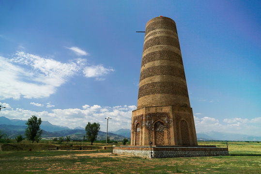 Burana Tower is a large minaret in the Chuy Valley in Tokmok, Kyrgyzstan