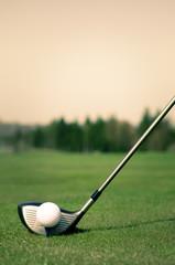 Ball On Golf Course Against Clear Sky