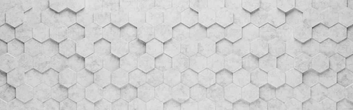 Gray Hexagon Tiles 3D Pattern Background