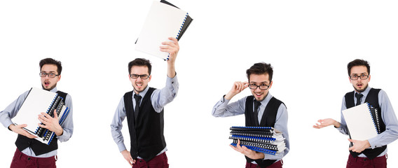 Wall Mural - Office employee holding paper isolated on white