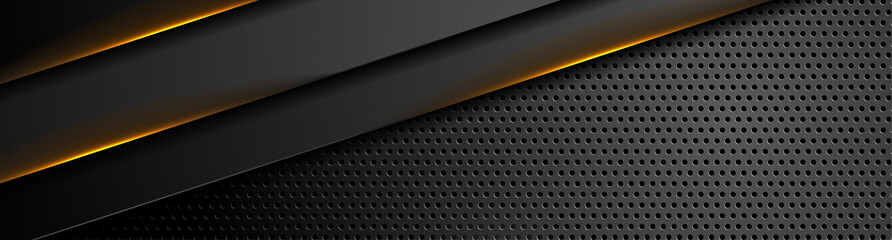 Fotobehang - Futuristic perforated technology abstract background with orange neon glowing lines. Vector banner design