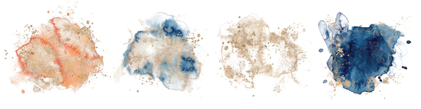 Abstract watercolor  shapes on white background. Color splashing hand drawn vector