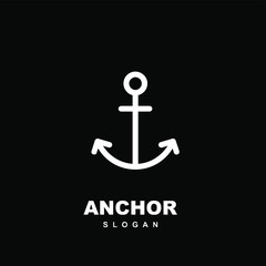 abstract simple line anchor logo icon design vector illustration isolated black background