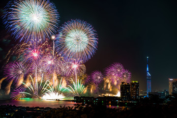 fireworks over the city and sea
