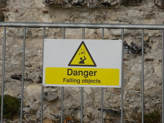 Danger Falling Objects yellow warning sign Wall mural