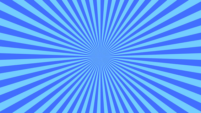 Abstract starburst background with blue rays. Banner vector illustration.