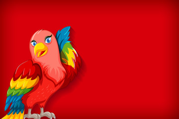 Background template with plain color and colorful parrot Fotomurales