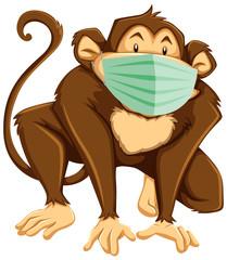 Monkey cartoon character wearing mask