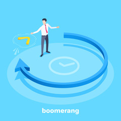 isometric vector image on a blue background, a blue arrow going in a circle and a man catches a boomerang flying towards him