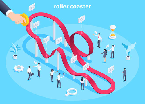 isometric vector image on a blue background, business people and roller coaster chart, male hand holds a gold coin, changing value of money