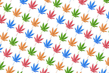 Colorful leaves of hemp or cannabis seamless pattern on isolated on white background.