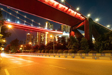 Fotomurales - Red suspension bridges and highways at night