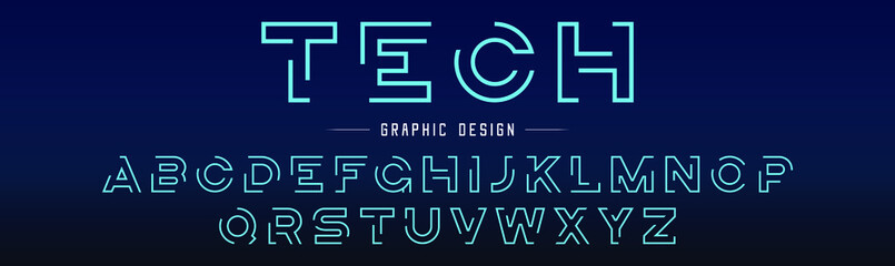 Creative abstract modern digital technology fonts. Minimalist slim typography monogram font style. Vector illustration and tech logo.