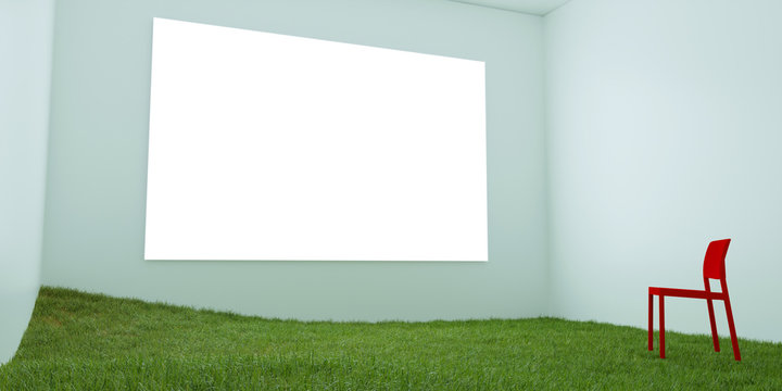 A red chair  is located on the green grass in a light blue room with a white screen same the windows or LED screen on. Lonely, loneliness, solution, exit, peace, a pleasure, lawn. 3D render