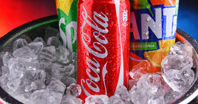 Cans of assorted Coca Cola Company soft drinks