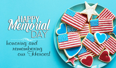 home baking cookies icing like american flag. patriotic background for US national holidays, happy Memorial Day