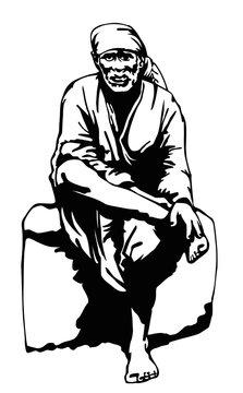 Vector illustration of Sai Baba of Shirdi Silhouette, Indian spiritual master, Bhakti Yogi, Sufism
