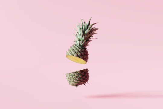 Pineapple cut on pastel pink background. Minimal summer concept. 3d rendering