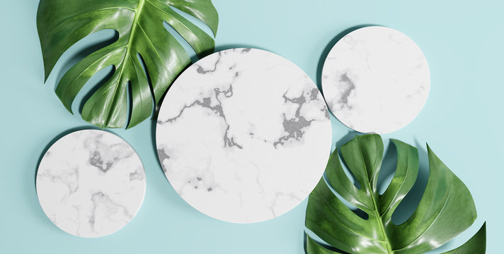 Top view circle marble podium with monstera leaves. Cosmetic product mockup. 3d rendering