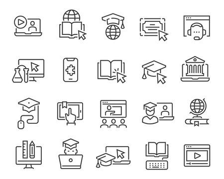 Online education icon set. Collection of linear simple web icons such as online education, mentor, online student, video and audio courses, distance learning, group classes and more. Editable vector