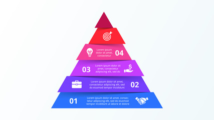 Infographic pyramid template with six strip elements. Concept of 6 steps of business strategy. Clean vector illustration for presentation.