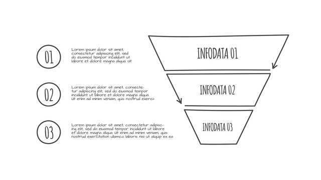 Doodle social media sales funnel infographic with 3 options. Hand drawn icons. Thin line flat illustration