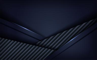 Dark 3d navy blue with carbon textured pattern background design.