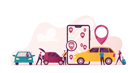 Characters Ordering Online Taxi Cars, Rent and Sharing Automobiles Using Mobile Application Service. People at Smartphone Screen with Route and Points Location on City Map. Cartoon Vector Illustration Wall mural
