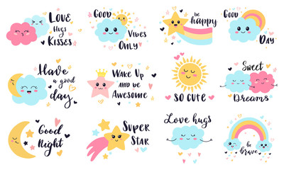 Cute baby labels. Kids sun, cloud and rainbow decorative stickers, cute babies smiling weather characters vector illustration symbols set. Rainbow and sun, summer happy sky with cloud Fotobehang