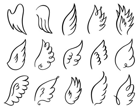 Hand drawn wings. Doodle sketch angel flight feather, angels or birds elegant wings spread, winged angel elements vector illustration icons set. Stroke wing drawn, angelic tattoo contour