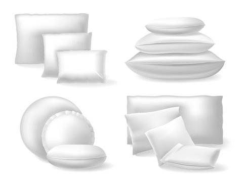 White realistic pillows. Comfort bed soft cushions, rest and sleep cozy cotton or linen pillows isolated vector illustration icons set. Cozy and rest pillow comfortable, rectangle sleep