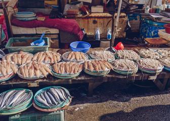 fresh seafood at fish market in Busan