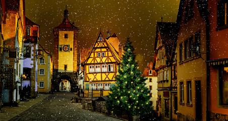 Winter in Rothenburg ob der Tauber, Deutschland