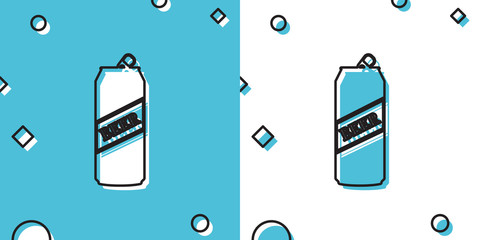 Black Beer can icon isolated on blue and white background. Random dynamic shapes. Vector Illustration