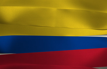 Poster de jardin Amérique du Sud Colorful ribbon as Colombia national flag, tricolor of yellow (double-width), blue and red.