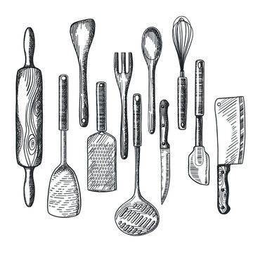 Big vector hand drawn collection of kitchen utensils, isolated on write background, design template for your flyers, banners or restaurant menu.