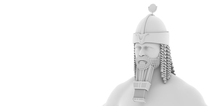 3D illustration, white sumerian, anunnaki, character