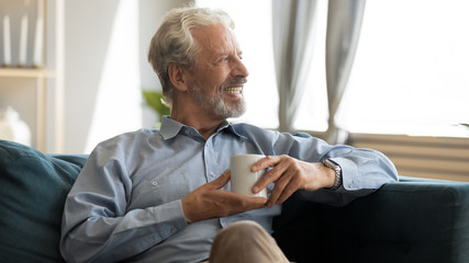 Happy elderly mature grey haired man resting on comfortable sofa with cup of hot tea, enjoying evening morning weekend time at home, smiling old grandfather dreaming of future alone in living room.